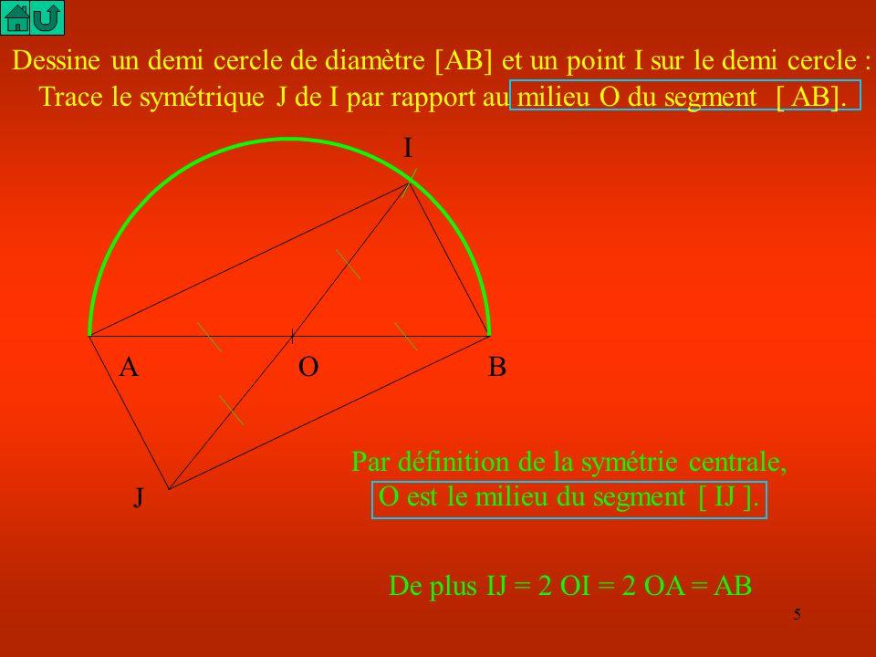 Trace le symétrique J de I par rapport au milieu O du segment [ AB].